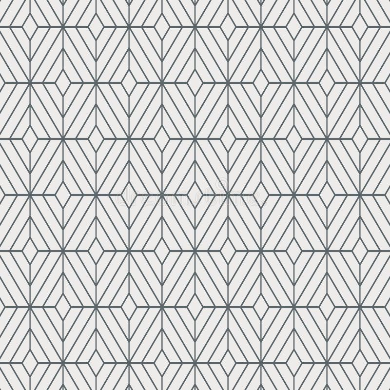 Geometrisk dekorvektormodell som upprepar fyrkantig diamantform, stilfull monokrom royaltyfri illustrationer