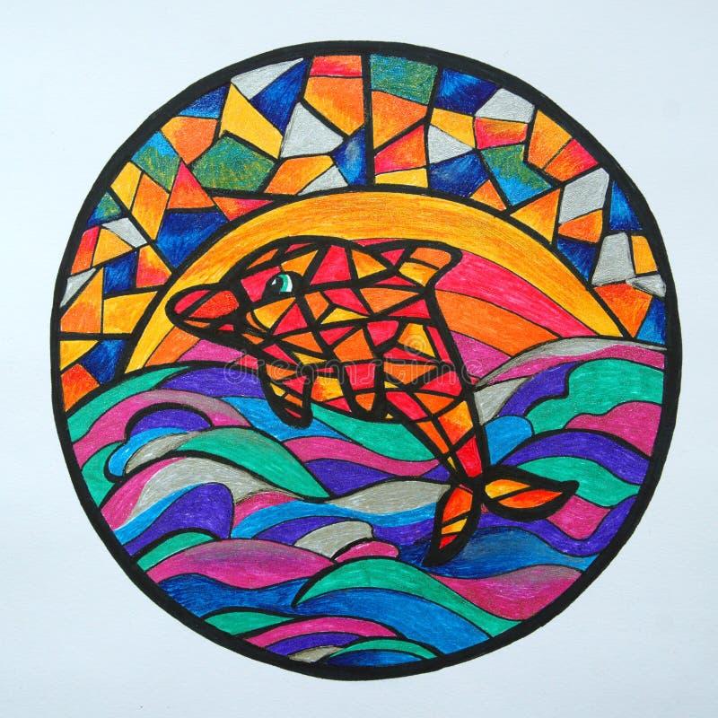 Geometrisk delfin i det färgrika havet stock illustrationer
