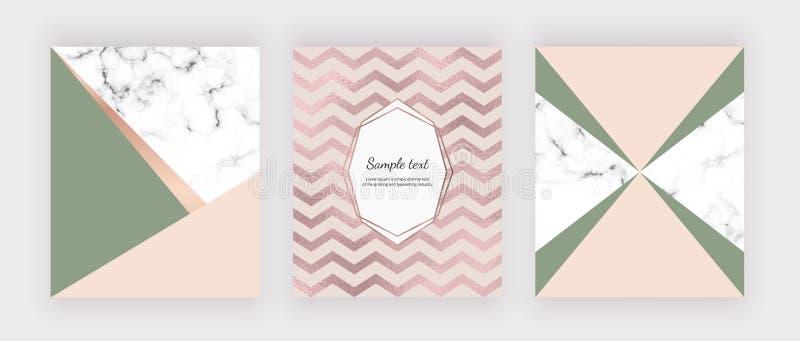 Geometrisk design för marmor med rosa och grönt triangulärt, sparrefolietextur Moderna mallar för att gifta sig inbjudan, baner,  stock illustrationer