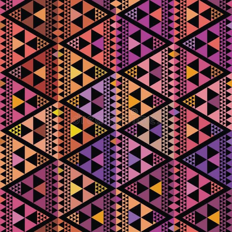 Geometrisk design för purpurfärgad, rosa och orange triangel Repetitionvektormodell på svart bakgrund med bohovibe Utmärkt för vektor illustrationer