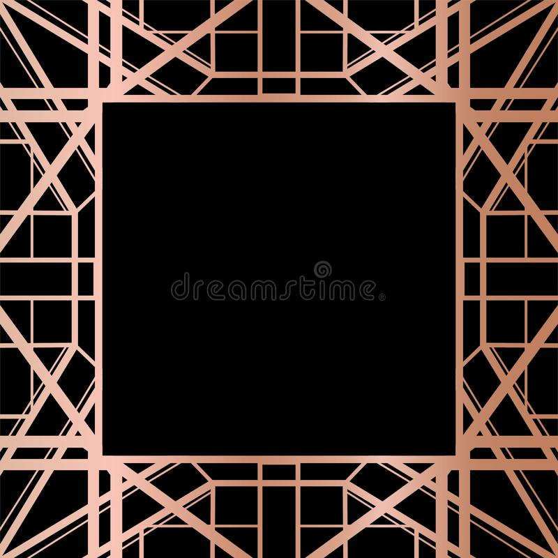 Geometrisk design för Rose Gold Gatsby Art Deco stilram royaltyfri illustrationer