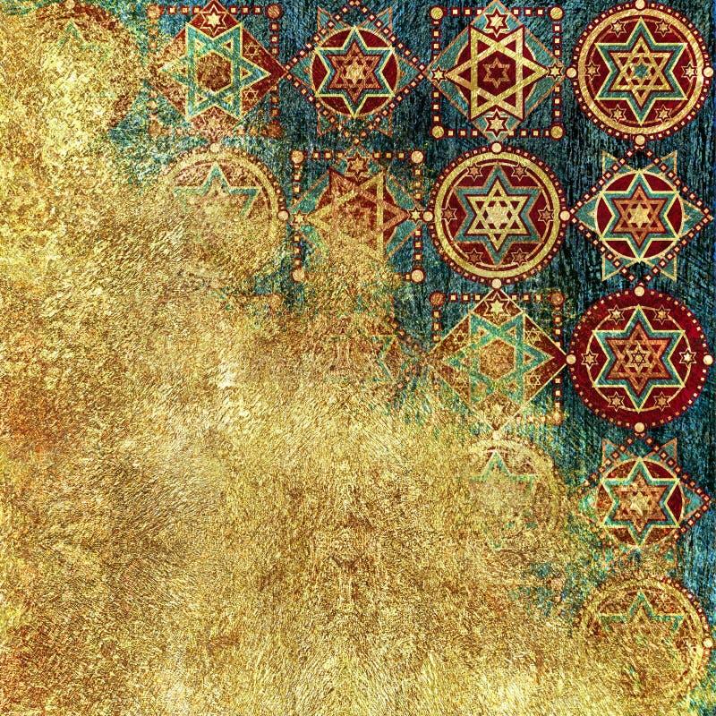 Geometrisk design, gul guld- bakgrund för mörker, stjärnor royaltyfri illustrationer