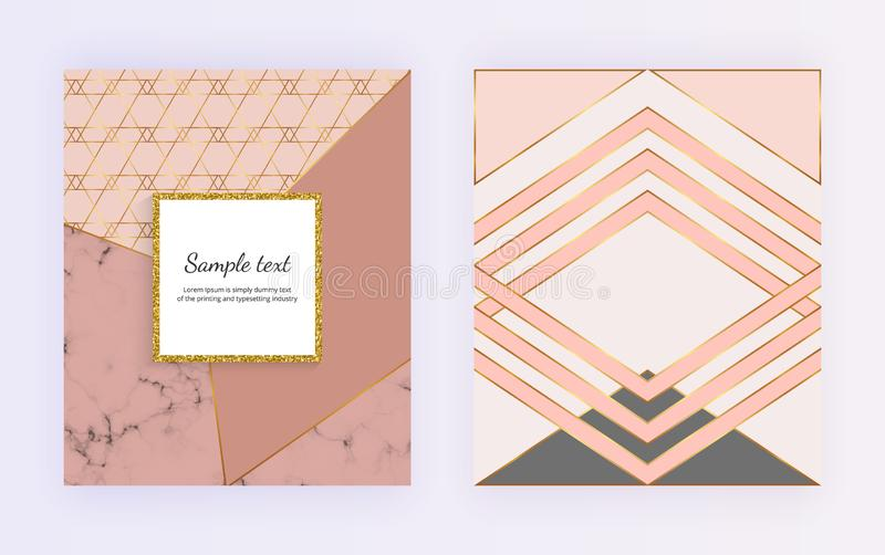 Geometrisk design med guld- linjer, triangulära former Moderna mallar för inbjudan, bröllop, plakat, födelsedag, broschyr royaltyfri illustrationer