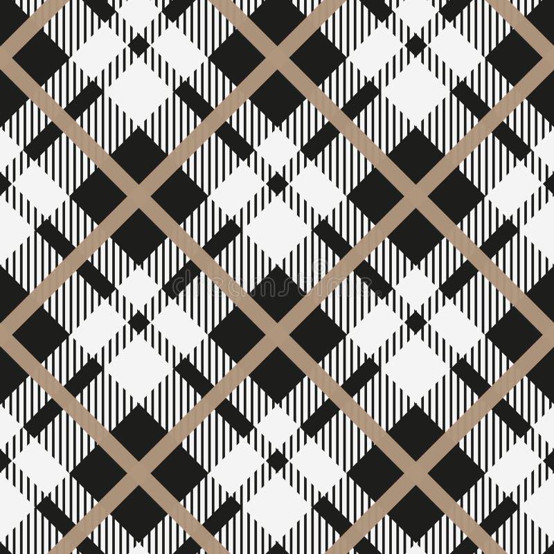 Geometrisk enkel fyrkantig bakgrund för svartvit för vektormodell för tartan diagonal sömlös rutig textur för pläd för tyg, t vektor illustrationer