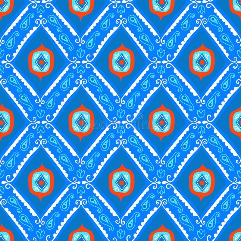 Geometrisk etnisk modell för vektor med diamanter, trianglar stock illustrationer