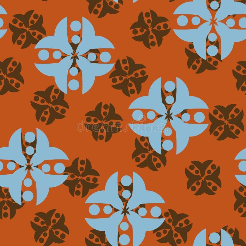 Geometrisk etnisk sömlös vektormodell i brunt och blått royaltyfri illustrationer