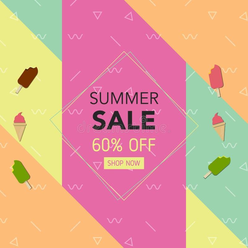 Geometrisk färgrik bakgrund för sommar med, glass Vektorillustrationmall för banret, reklamblad, inbjudan, affisch, broschyr vektor illustrationer