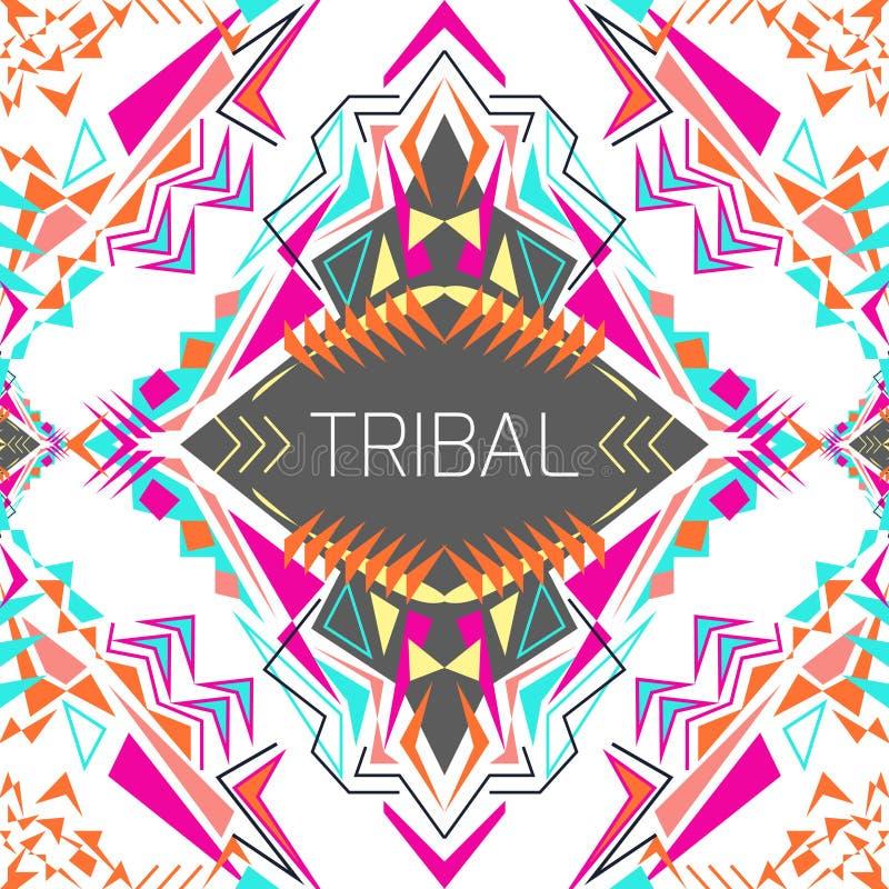 Geometrisk färgrik bakgrund för vektor Kortmall för affär och inbjudan Person som tillhör en etnisk minoritet stam- aztec stil royaltyfri illustrationer