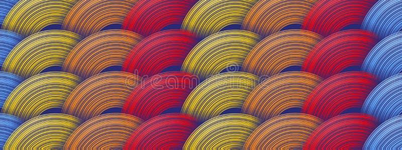 Geometrisk färgrik bakgrund med abstrakta former stock illustrationer