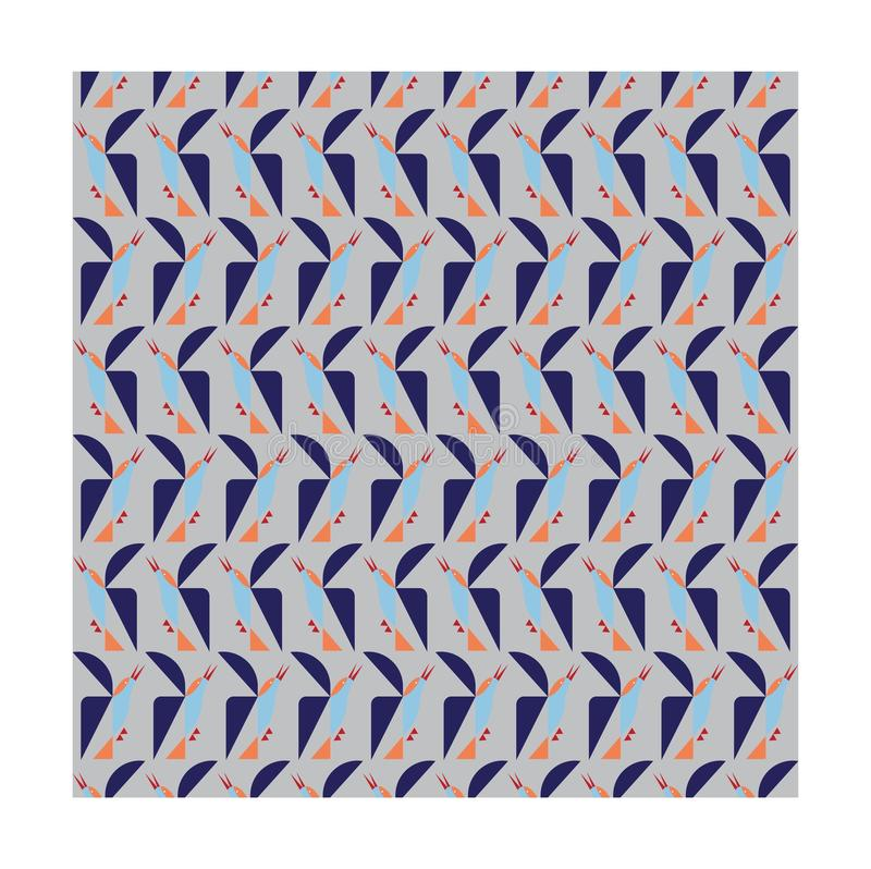Geometrisk fågel på grå bakgrund royaltyfri illustrationer