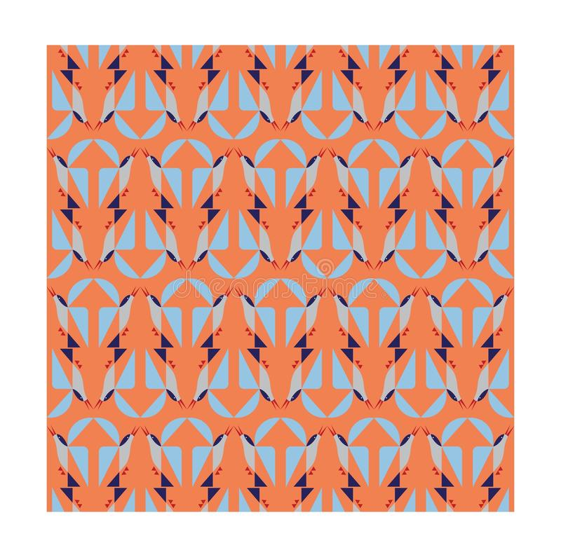 Geometrisk fågel på orange bakgrund stock illustrationer