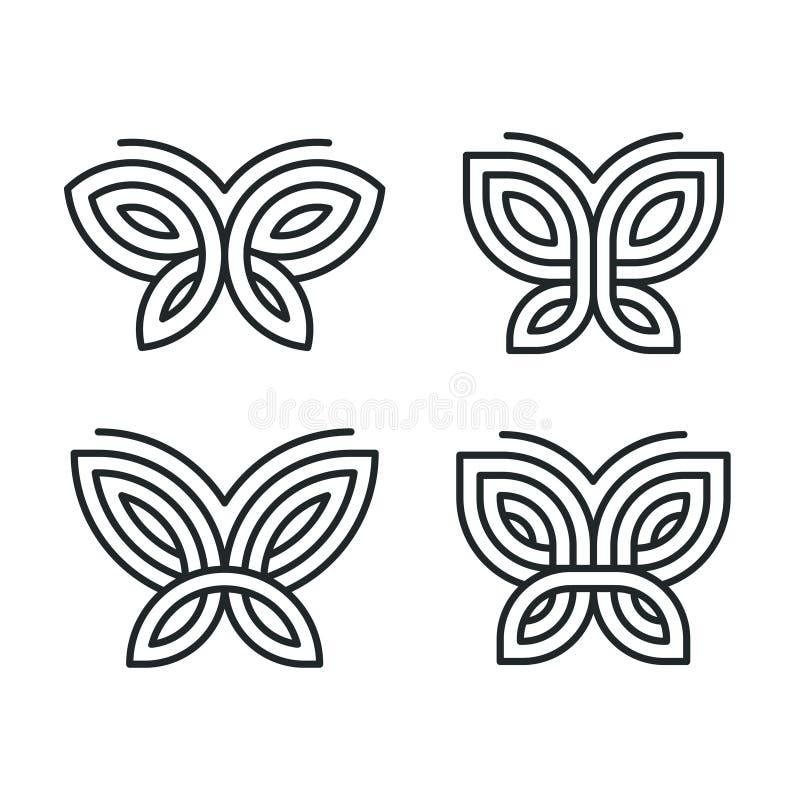 Geometrisk fjärilslogouppsättning royaltyfri illustrationer