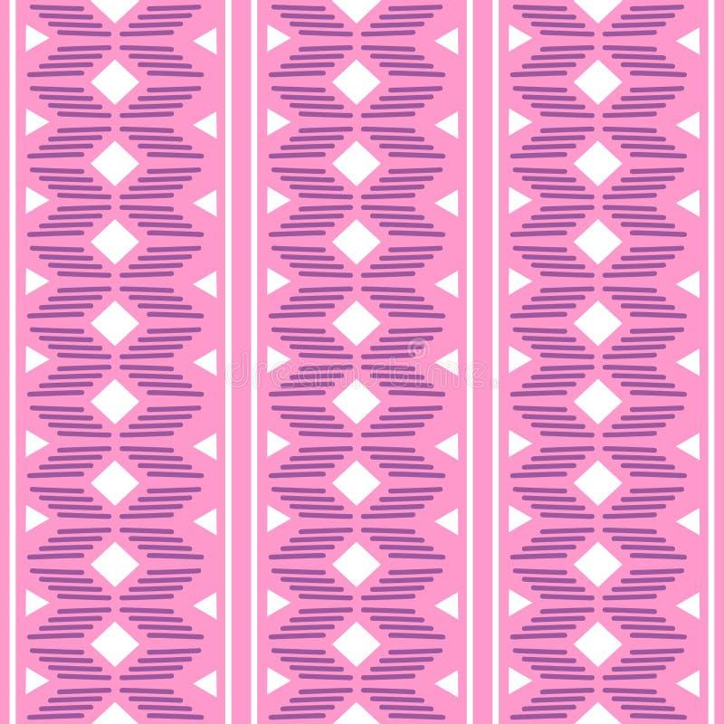 geometrisk folkloreprydnad för kat Stam- etnisk vektortextur Sömlös randig modell i Aztec stil Diagram stam- broderi vektor illustrationer