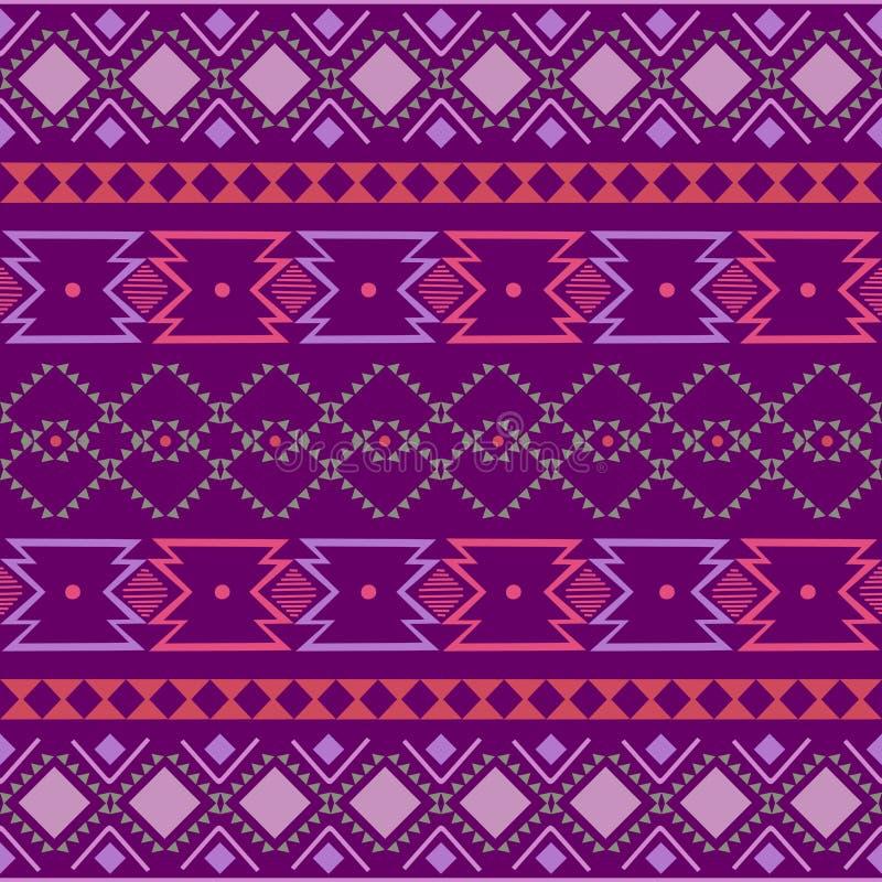 geometrisk folkloreprydnad för kat Stam- etnisk vektortextur Sömlös randig modell i Aztec stil Diagram stam- broderi royaltyfri illustrationer