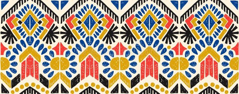 Geometrisk folkloreprydnad Stam- etnisk vektortextur Sömlös randig modell i Aztec stil vektor illustrationer