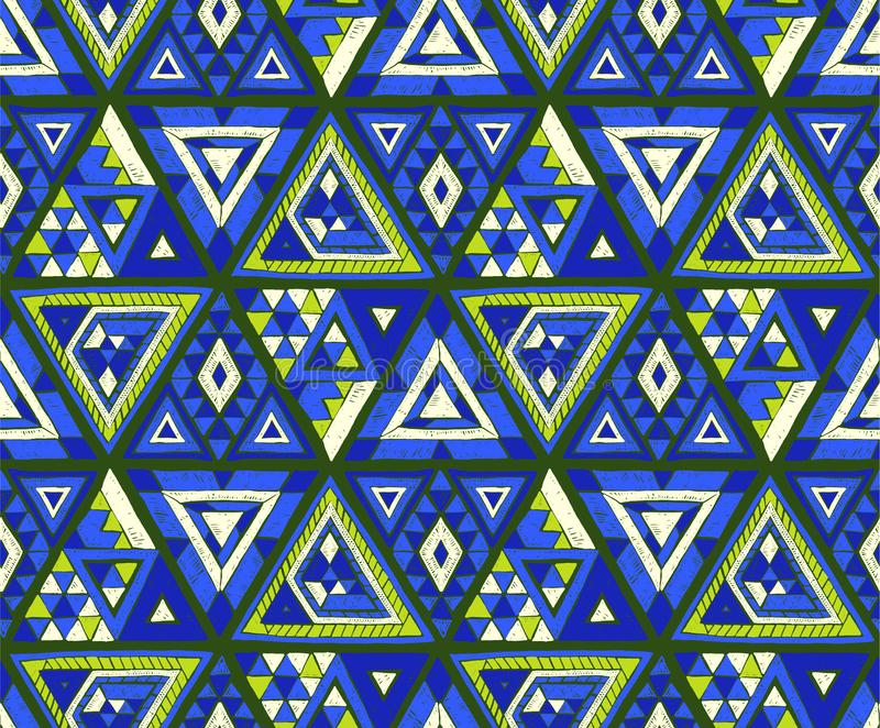 Geometrisk folkloreprydnad Stam- etnisk vektortextur Sömlös randig modell i Aztec stil royaltyfri illustrationer