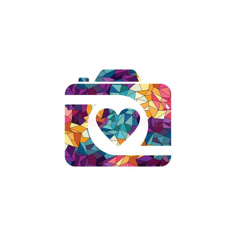 Geometrisk fotografilogo för abstrakt färgrik triangel stock illustrationer