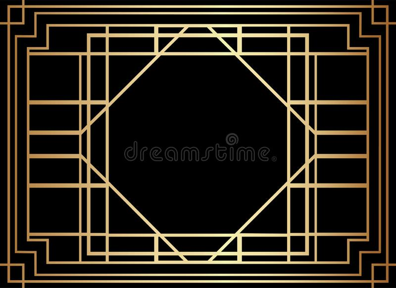 Geometrisk Gatsby Art Deco Style Border Frame design royaltyfri illustrationer