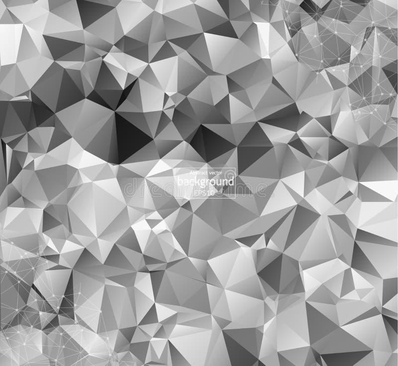 Geometrisk grå bakgrundsmolekyl och kommunikation Förbindelselinjer med prickar också vektor för coreldrawillustration royaltyfri illustrationer