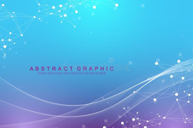 Geometrisk grafisk bakgrundsmolekyl och kommunikation Stort datakomplex med sammansättningar Perspektivbakgrund minsta vektor illustrationer