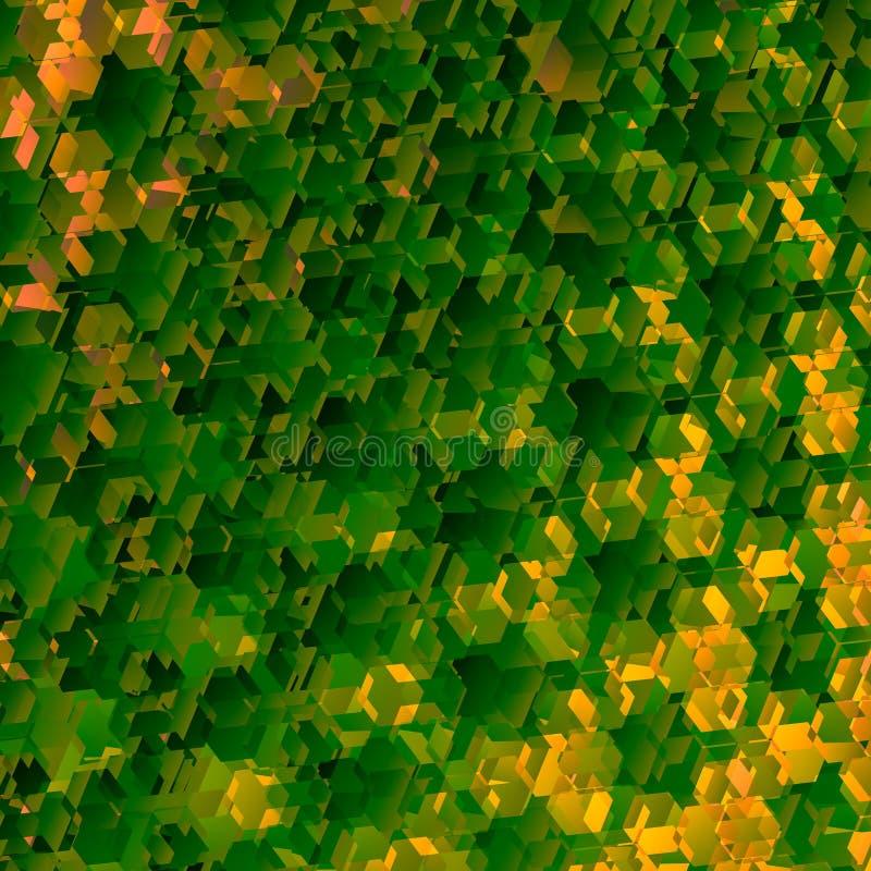 geometrisk green för abstrakt bakgrund Art Pattern Illustration Dekorativa honungskakaformer Härligt fjädra bakgrunder bild royaltyfri illustrationer