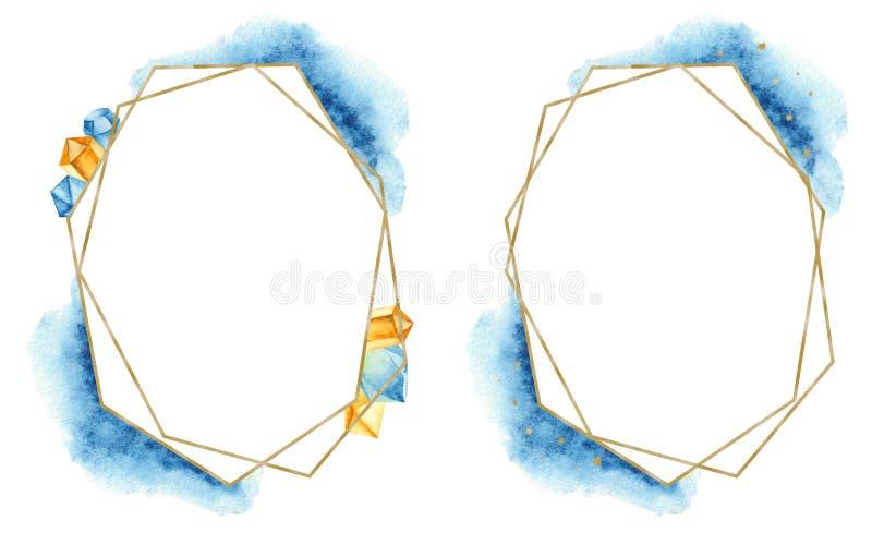 Geometrisk guld- ram med blåa fläckar och ädelstenar för vattenfärg vektor illustrationer