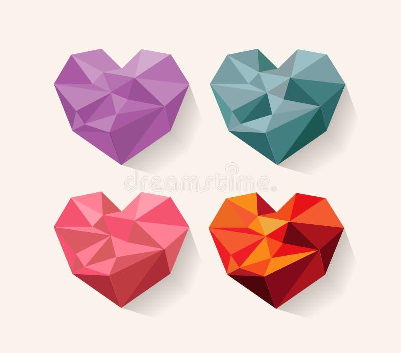 Geometrisk hjärta Förälskelse planlägg elementseten stock illustrationer