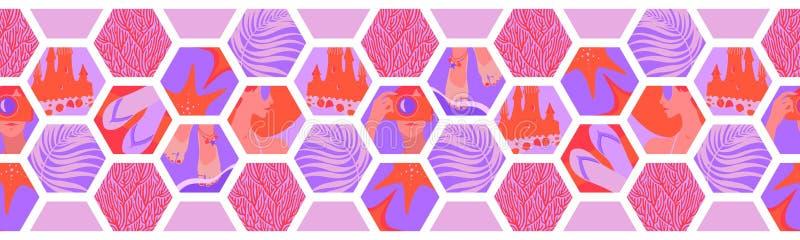 Geometrisk horisontalsömlös gräns med former för sexhörning för sommartid Kopplar av det tropiska havet för vektorn korall, rosa  vektor illustrationer