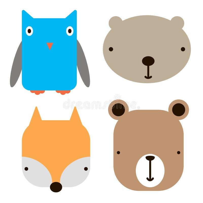 Geometrisk illustration för djur konst för framsidasymboler enkel royaltyfri illustrationer