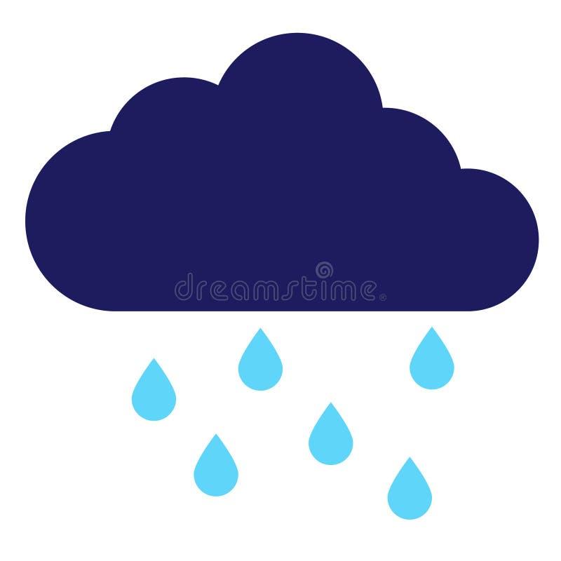 Geometrisk illustration för regnigt moln som isoleras på bakgrund vektor illustrationer