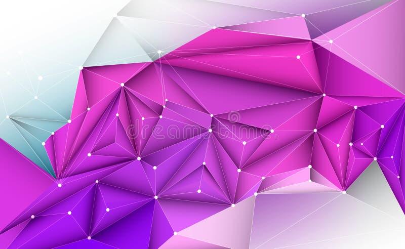 Geometrisk illustration för vektor 3D, polygon, linje, triangelmodell vektor illustrationer