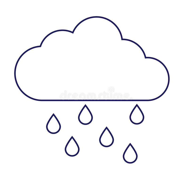 Geometrisk illustration f?r regnigt moln som isoleras p? bakgrund vektor illustrationer