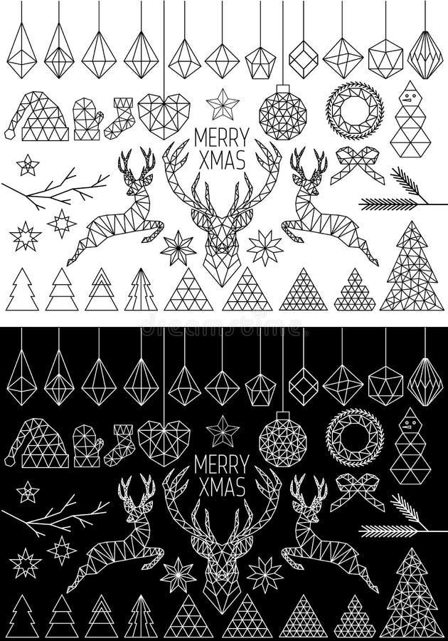 Geometrisk jul, vektoruppsättning stock illustrationer