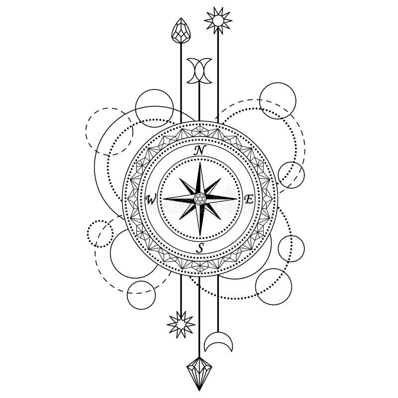 Geometrisk kompassmodell royaltyfri illustrationer