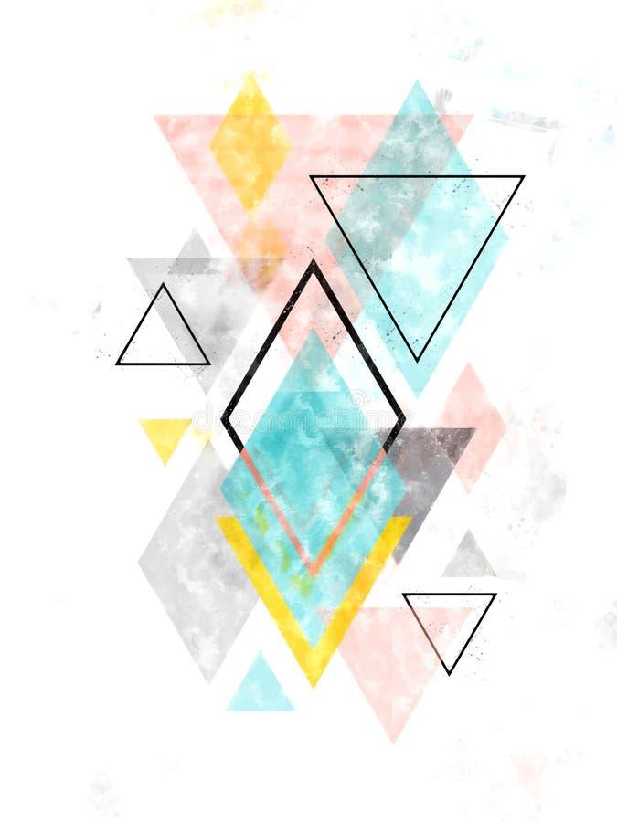 Geometrisk konst för Minimalist skandinavabstrakt begrepp royaltyfria bilder