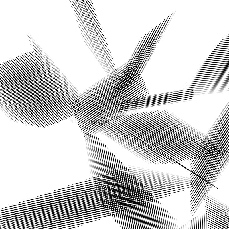 Geometrisk konst med slumpmässiga kaotiska linjer Abstrakt monokrom il vektor illustrationer