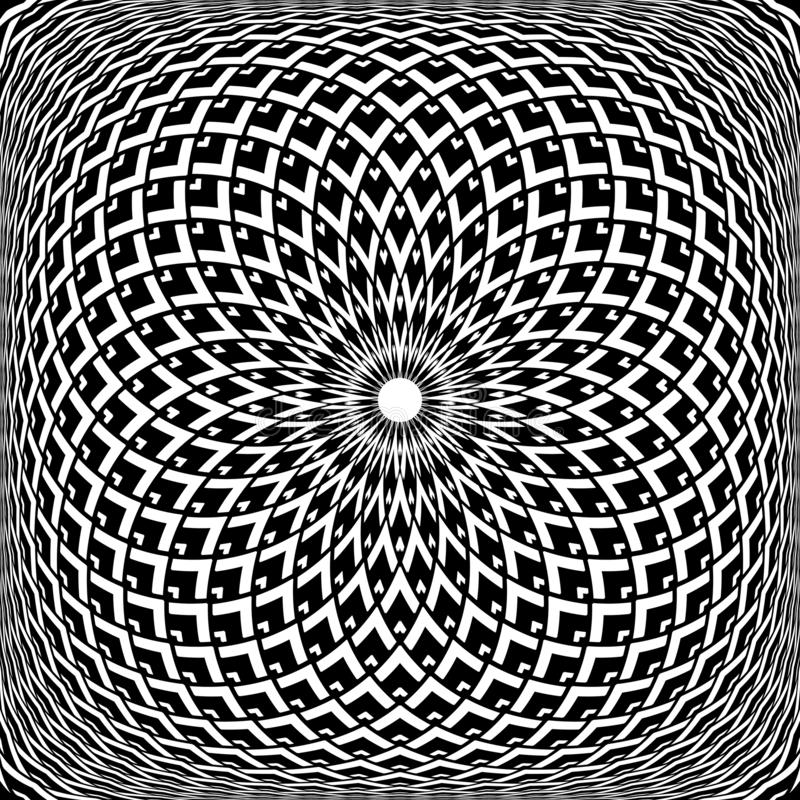 Geometrisk konvex rotationsmodell Abstrakt begreppdesign f?r Op konst royaltyfri illustrationer