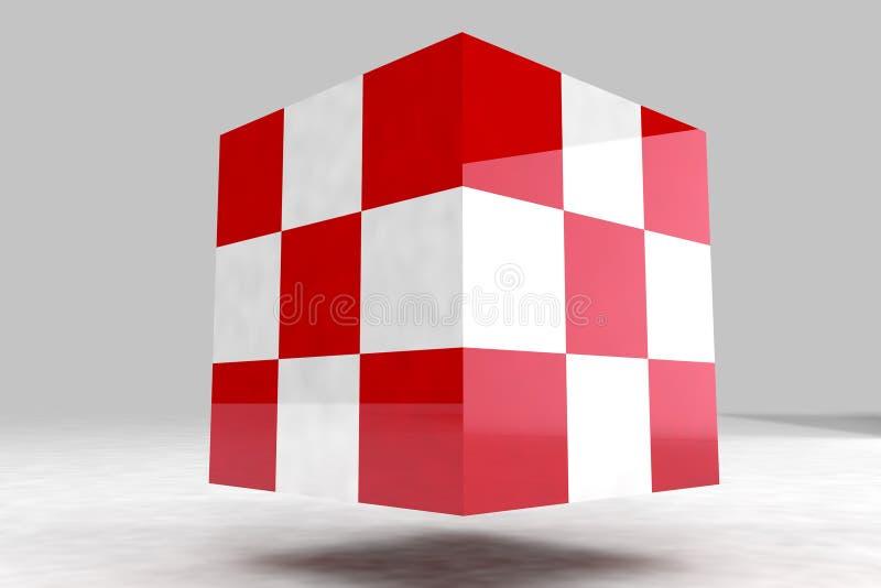 Geometrisk kropp som göras av röda och vitkuber royaltyfri illustrationer