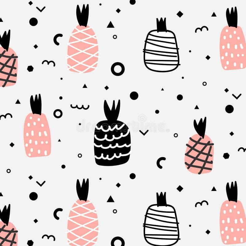 Geometrisk lägenhet och gullig hand dragen ananasmodell vektor illustrationer