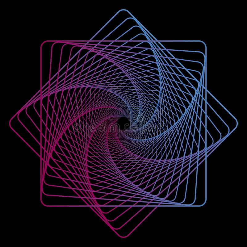 Geometrisk linje konst på svart bakgrund för textildesign Idérik neonmall Geometrisk bakgrund för vektor Digital teknologi stock illustrationer