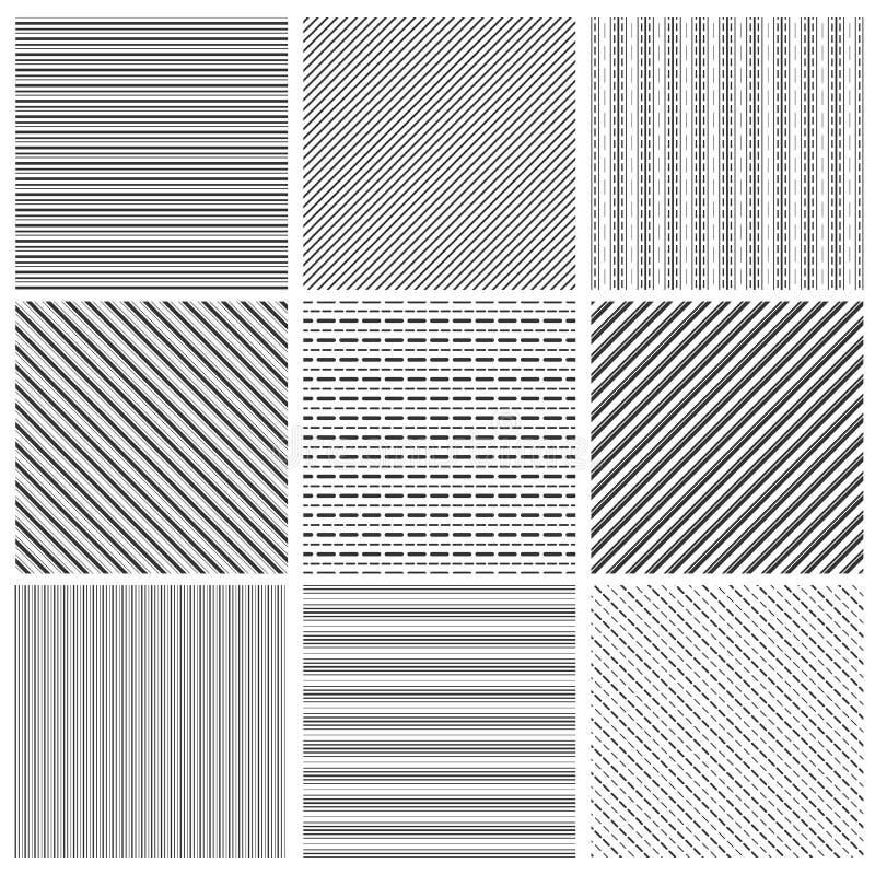 Geometrisk linje modelluppsättning Den parallella streepsvartdiagonalen fodrar modellvektorillustrationen vektor illustrationer