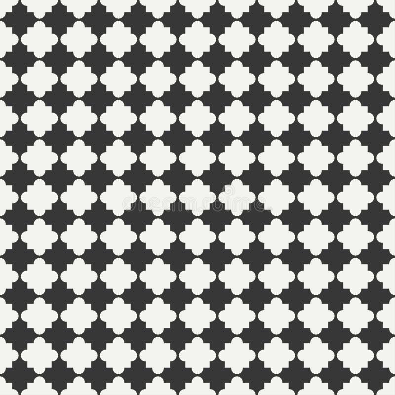 Geometrisk linje sömlös arabisk modell för monokromt galler stock illustrationer