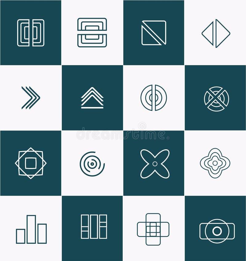 Geometrisk linje uppsättning för lineartlogosymbol royaltyfri illustrationer
