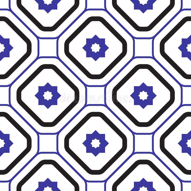 Geometrisk medelhavs- modell för tegelplatta för blått- och vitromb sömlös royaltyfri illustrationer