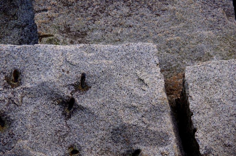 Geometrisk modell av bröt sten granitkvarter på Ogden Point Breakwater, Victoria, F. KR. royaltyfria foton