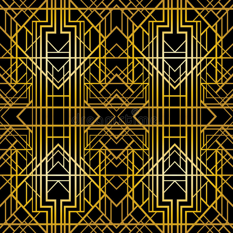 Geometrisk modell för art déco (20-talstil), sömlös tapet stock illustrationer