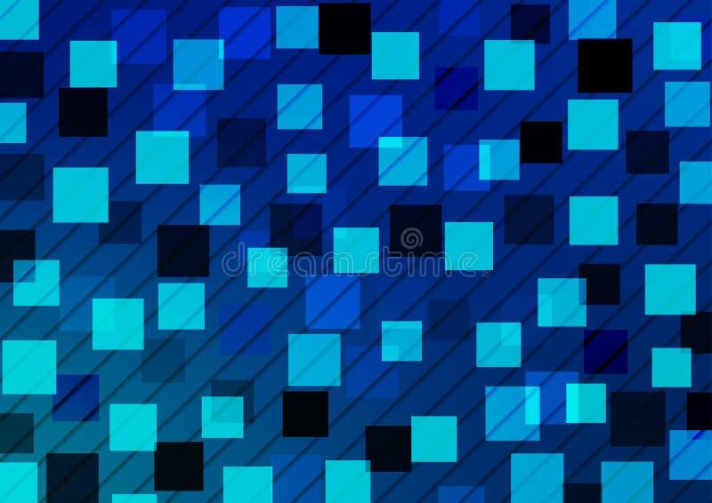Geometrisk modell för ljusa och mörka fyrkanter i blå bakgrund vektor illustrationer