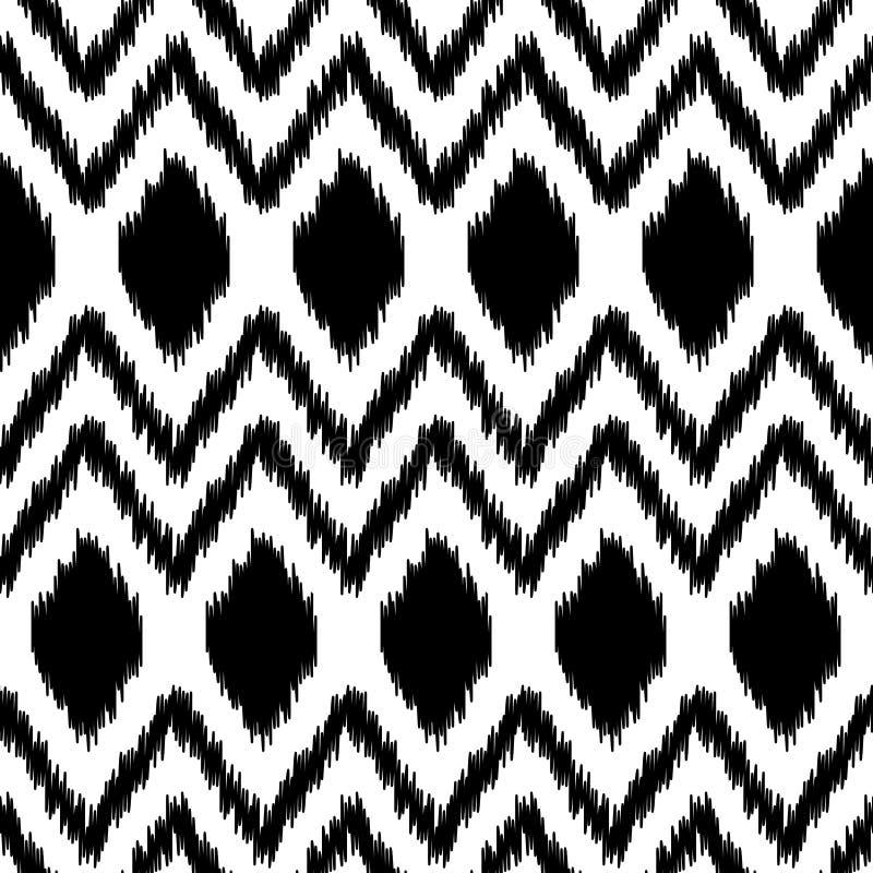 Geometrisk modell för svartvitt etniskt ikatabstrakt begrepp, vektor stock illustrationer