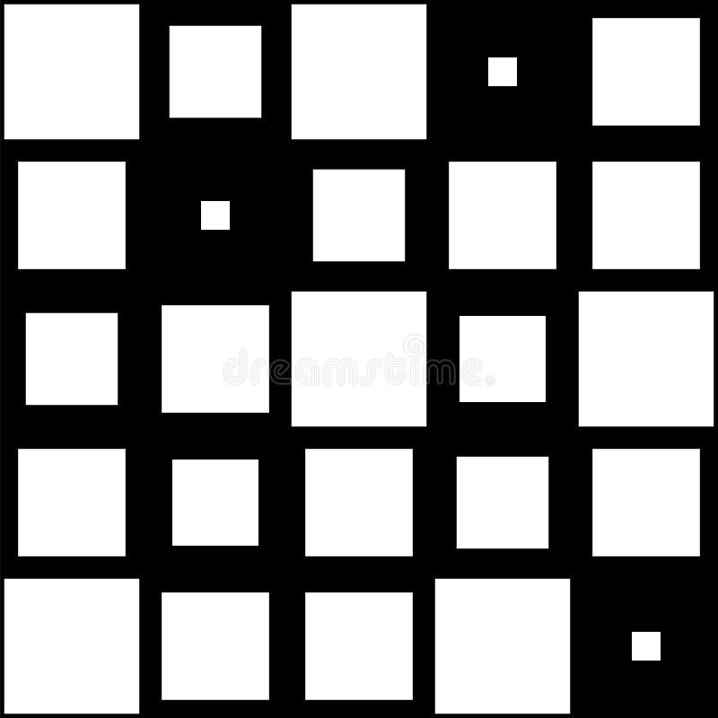 Geometrisk modell i svartvit stil Abstrakt svartvit fyrkantig modell Sömlösa geometriska diagram vektor illustrationer