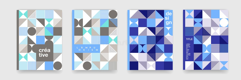 Geometrisk modellbakgrundstextur för affischräkningsdesign Minsta triangel, cirkel, fyrkantblått, vikarier för baner för grå färg vektor illustrationer